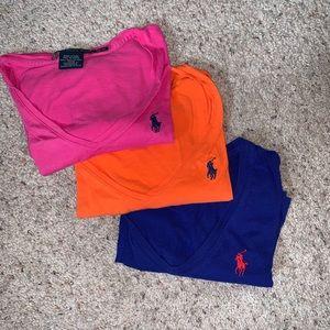3 PACK! Ralph Lauren v-neck t shirts. XS.